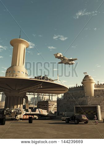 Science fiction illustration of an interstellar spaceship coming in to land at the spaceport in a futuristic science fiction city on a bright sunny day, digital illustration (3d rendering)