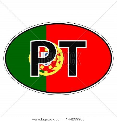 Sticker on car, flag Portugal the inscription PT vector for print or website design for language buttons