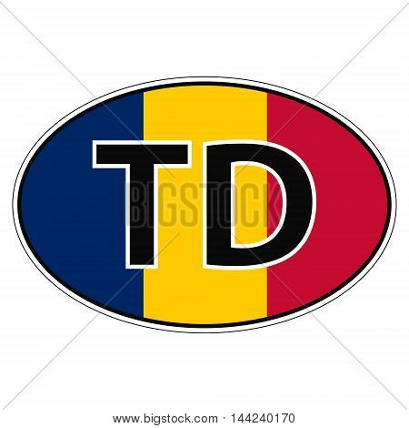 Sticker on car, flag  with the inscription TD vector for print or website design for language buttons