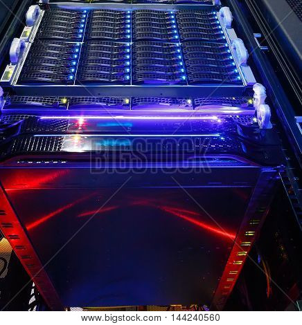 bottom view on the cluster storage of a supercomputer in a data center