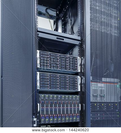 rows of server hardware in the data center