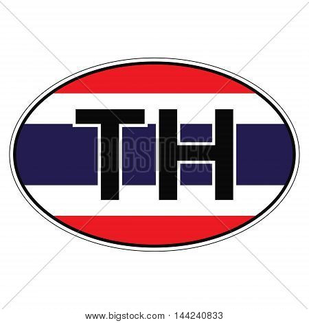 Sticker on car, flag Thailand with the inscription TH vector for print or website design for language buttons