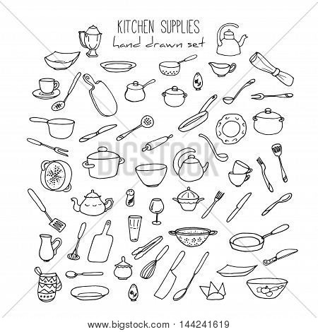 Hand Drawn Kitchen Utensils Set. Doodle Kitchen Tools and Items. Kitchenware Vector Illustration. Menu and recepie sketched elements.