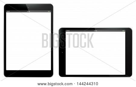 Horizontal and Vertical Tablet Computer Vector Illustration isolated on white.