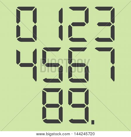 Digital calculator numbers set and dot isolated on green background. EPS 8 vector illustration no transparency