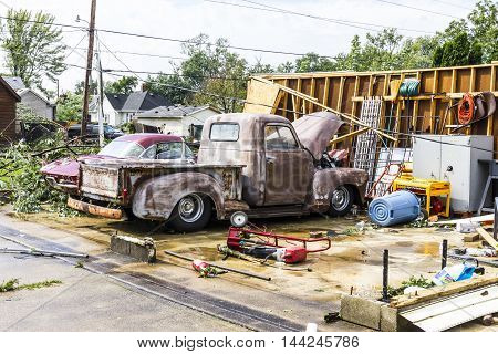 Kokomo - August 24 2016: Several EF3 tornadoes touched down in a residential neighborhood causing millions of dollars in damage. This is the second time in three years this area has been hit by tornadoes 10