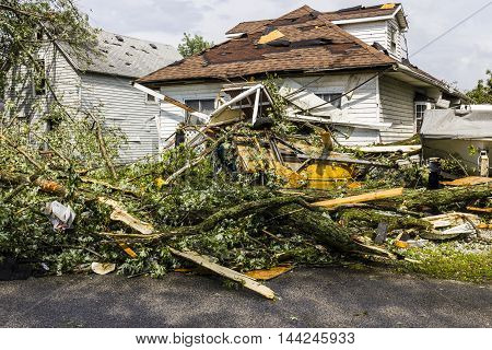 Kokomo - August 24 2016: Several EF3 tornadoes touched down in a residential neighborhood causing millions of dollars in damage. This is the second time in three years this area has been hit by tornadoes 15