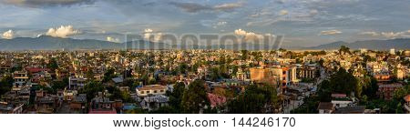 Panoramic view of Kathmandu from Patan at sunset, Nepal