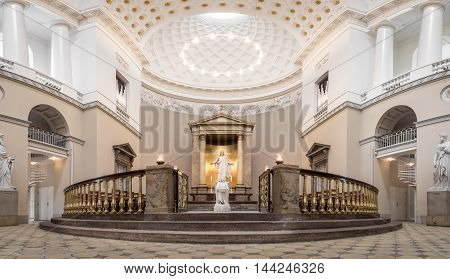Copenhagen, Denmark - August 3, 2016: The Sanctuary inside Vor Frue Cathedral