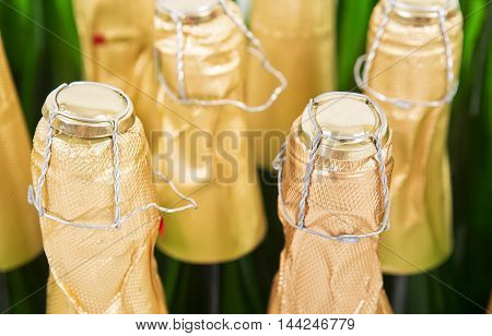 Bottles of champagne background. Tops of a bottle of champagne background. Packing production. Alcoholic production