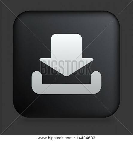 Download Icon on Square Black Internet Button Original Illustration