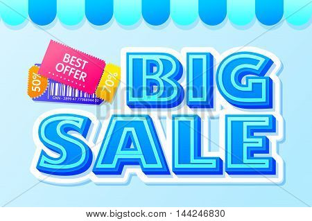 Big sale lettering with best offer coupons. Sale and discounts. Blue comic text. Cartoon text composition for your design.