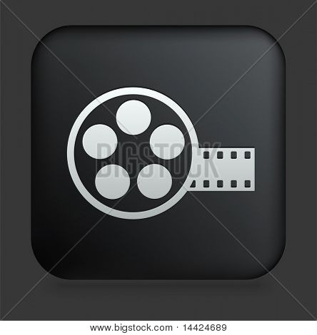 Film Reel Icon on Square Black Internet Button Original Illustration