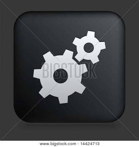 Gear Icon on Square Black Internet Button Original Illustration
