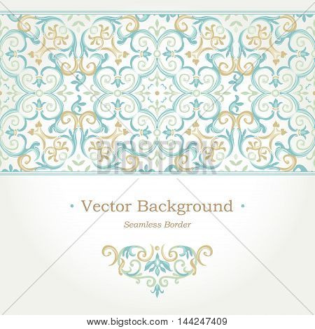 Vector Ornate Seamless Border In Eastern Style