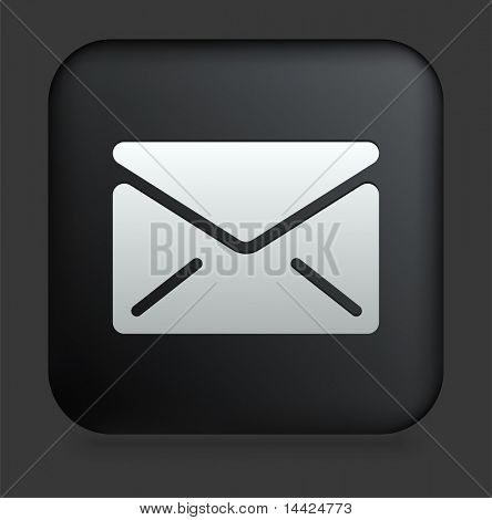 Mail Icon on Square Black Internet Button Original Illustration