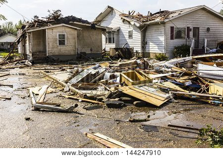 Kokomo - August 24 2016: Several EF3 tornadoes touched down in a residential neighborhood causing millions of dollars in damage. This is the second time in three years this area has been hit by tornadoes 44
