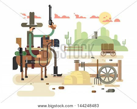 Wild westcowboy and western, sheriff vector illustration poster