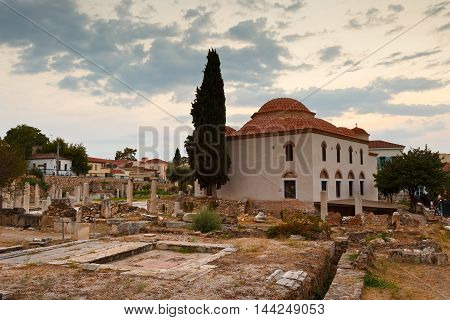 ATHENS, GREECE - AUGUST 25, 2016: Church and remains of  Roman Agora in Athens, Greece on August 25, 2016.