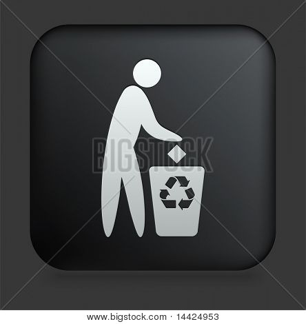 Recycle Trash Icon on Square Black Internet Button Original Illustration