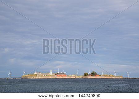 Copenhagen, Denmark - August 17, 2016: View of Trekroner fort at the entrance of Copenhagen harbour