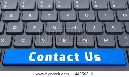 Blue Space Contact Us Button On Keyboard Concept