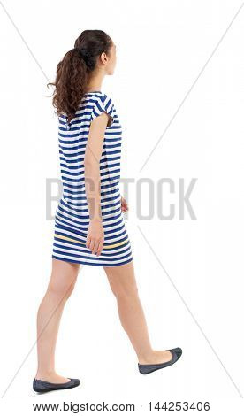 back view of walking  curly woman.  backside view of person.  Rear view people collection. Isolated over white background. Swarthy girl in a checkered dress goes diagonally.