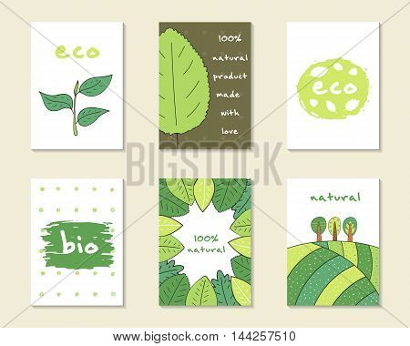 Cute hand drawn doodle eco bio nature cards brochures invitations leaf plant banner trees hills abstract elements Cartoon objects background Printable templates tags set