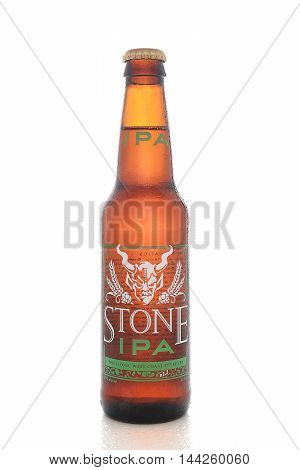 IRVINE CALIFORNIA - AUGUST 25 2016: Stone IPA. From the Stone Brewing Company in Escondido the largest brewery in Southern California.