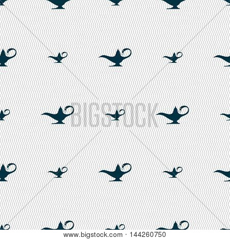 Alladin Lamp Genie Sign. Seamless Pattern With Geometric Texture. Vector