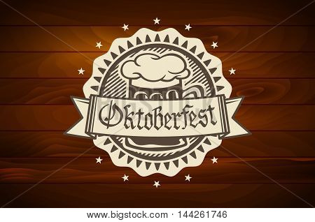 Oktoberfest Retro Styled Label Of Pub Or Craft Brewery Beer Scorched On Wood Vector