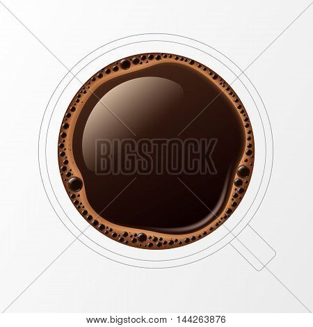 Vector Outline Coffee Cup Mug with Crema Foam Bubbles Top View Isolated On White Background