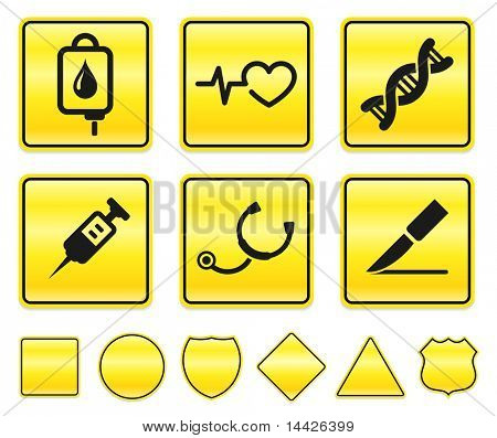 Medical Icons on Yellow Sign Button Collection Original Illustration