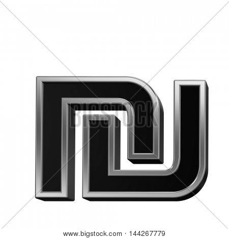Sheqel sign from black with silver shiny frame alphabet set, isolated on white. 3D illustration.