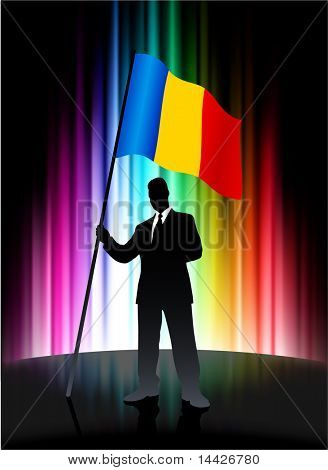 Romania Flag with Businessman on Abstract Spectrum Background Original Illustration