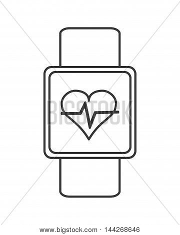 flat design heartbeat monitor wristband icon vector illustration