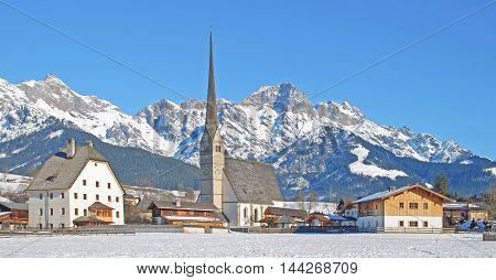 Village of Maria Alm in Salzburger Land at Hochkoenig Mountain,Alps,Austria