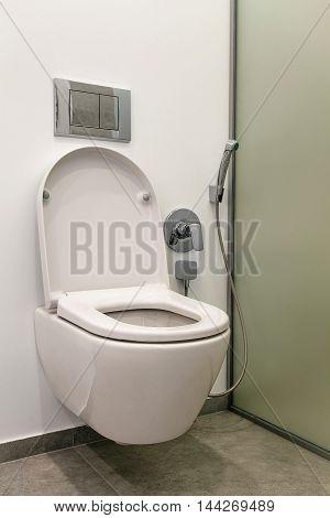 toilet with bidet in the modern bathroom