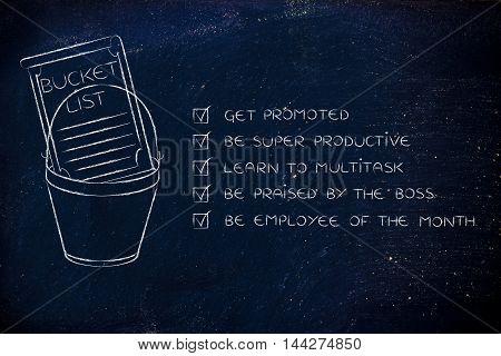 Bucket List With Employee's Career Goals, Ticked Off
