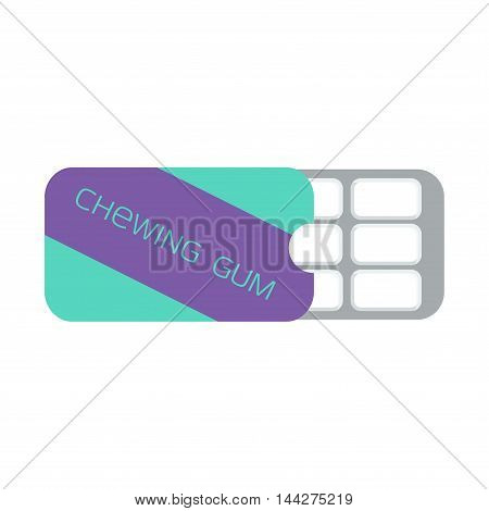Chewing gum in a blister pack, mint flavor. Vector illustration.