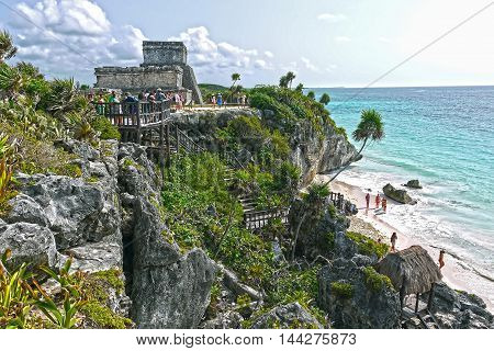 TULUM - MEXICO - AUGUST 23 2014 : Beautiful view of a Tulum temple & beach.