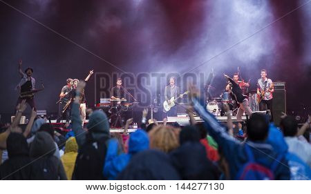 Bontida, Romania - July 14, 2016: The Babylon Circus ska and reggae group performing live on the stage at Electric Castle festival, one of the biggest music festivals in Romania