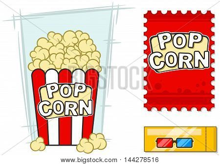 A vector illustration of cinema icons set 3d stereo glasses popcorn in striped bucket