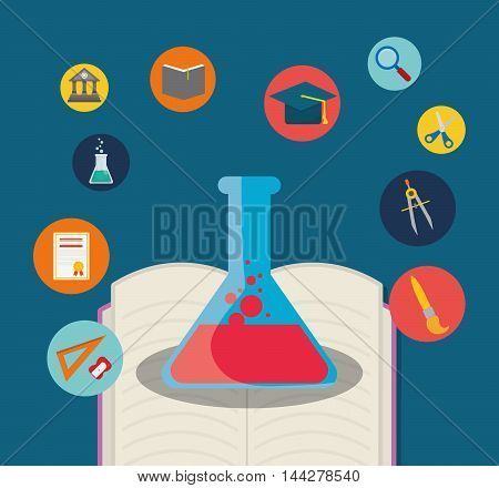 flask compass cap diploma book back to shool education  icon set. Colorful and flat design. Vector illustration