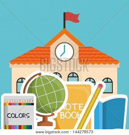 building colors book sphere pencil back to shool education  icon set. Colorful and flat design. Vector illustration