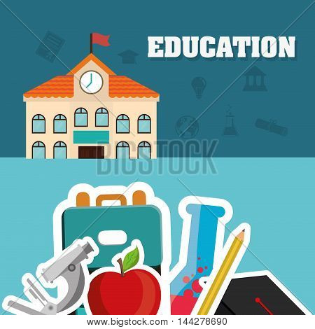 building microscope apple flask pencil bag back to shool education  icon set. Colorful and flat design. Vector illustration