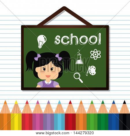 board girl colors  back to shool education icon set. Colorful and flat design. Vector illustration
