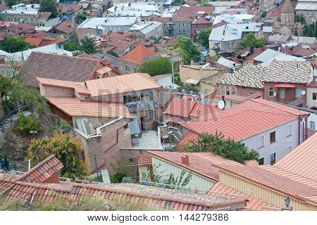 TBILISI, GEORGIA - AUGUST 08,2013: Top view of Tbilisi. Tbilisi is the capital of Georgia