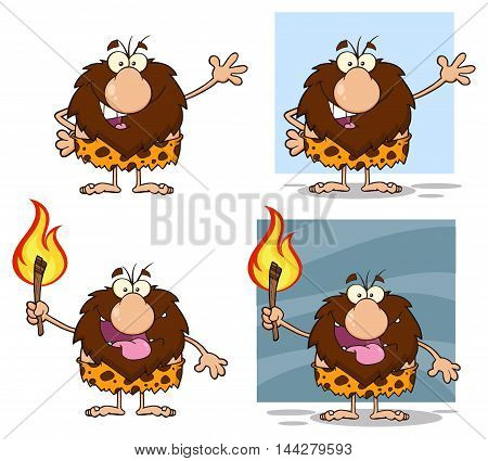 Funny Male Caveman Cartoon Mascot Character. Collection Set