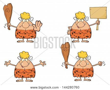 Blonde Cave Woman Cartoon Mascot Character 2. Collection Set Isolated On White Background